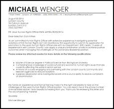 human rights officer cover letter sample livecareer