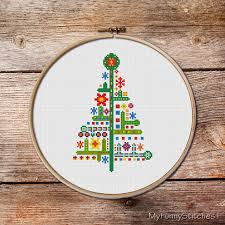 christmas ornaments modern christmas cross stitch christmas tree