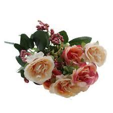Wedding Garden Decor Artificial 7 Heads Rose Flower Bouquet Leafs Wedding Garden Decor