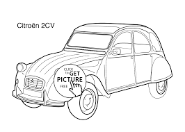 car citroen 2cv coloring page for kids printable free