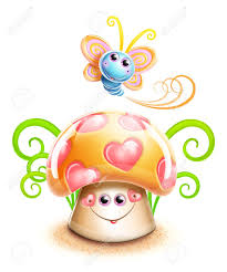 whimsical cute kawaii cartoon butterfly and mushroom stock photo