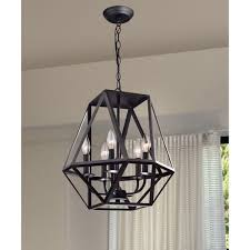 Black Iron Chandeliers Joshua 5 Light Multi Angular Antique Black Iron Chandelier Free