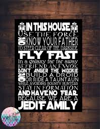 star wars house rules sign jedi quotes art print canvas