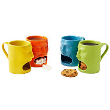cordon bleu face mug yellow ceramic open mouth cookies milk tea