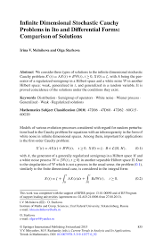 Plain Text Resumes Infinite Dimensional Stochastic Cauchy Problems In Ito And