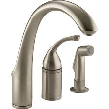 4 Hole Kitchen Faucet by Kohler Faucet K 10430 Bn Forte Vibrant Brushed Nickel One Handle