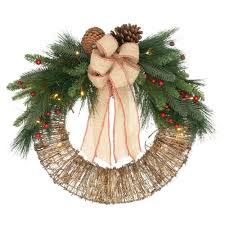 home accents 24 in vine wreath with pvc pine berry and