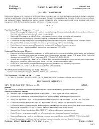 Qa Project Manager Resume Resume Wasniewski R Engineering Manager