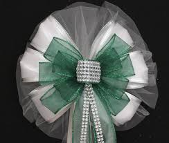 wedding pew bows emerald green bling sparkle white sparkle wedding pew bow church
