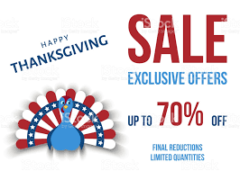 usa thanksgiving day exclusive offers poster template stock vector
