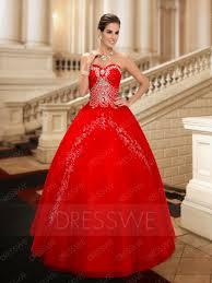 dream rhinestone beaded sweetheart floor length red tulle wedding
