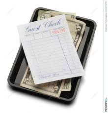 guest check tray guest check tray and money illustration 30737811 megapixl