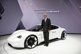 porsche mission e red porsche stuns frankfurt with all electric mission e sports sedan