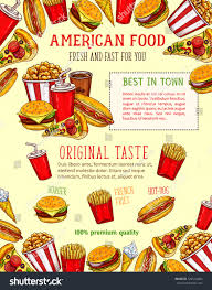 fast food burgers sandwiches snack poster stock vector 722544400