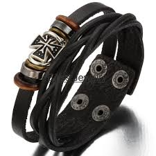 leather bracelet with cross images Hot adjustable vintage men 39 s ladies cross twist leather bracelet jpg