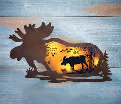 lighted silhouette wildlife moose at sunset metal wall art rustic