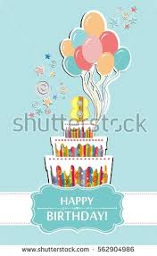 happy birthday greeting card celebration mint stock vector