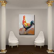 home decor dropship rooster oil painting canvas animal decoration for home decor free