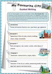 Paragraph Writing Worksheets Worksheet My Favourite City Guided Writing Esl For