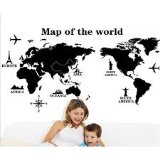 World Map Wall Sticker by World Map Wall Decal Sticker Wackydot