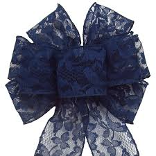 navy blue wired ribbon navy blue lace bows wedding bows wired mystic navy blue lace
