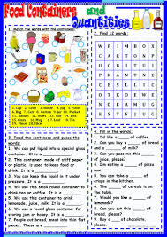 15 free esl food containers worksheets
