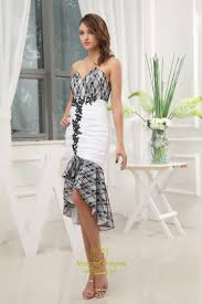 black and white high low prom dress black lace dress for wedding