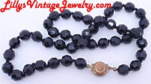 black glass necklace images Lilly 39 s vintage jewelry signed necklaces JPG