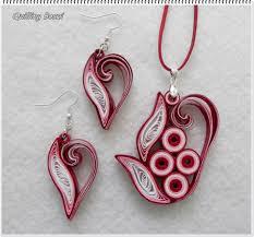 quilling earrings set bordó nonfiguratív szett pinteres