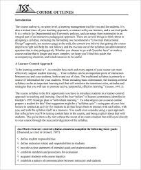 training course outline template u2013 12 free sample example