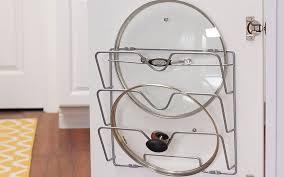 kitchen cabinet door pot and pan lid rack organizer pot lid organization ideas the home depot
