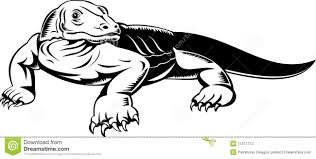 komodo dragon clipart black and white pencil and in color komodo