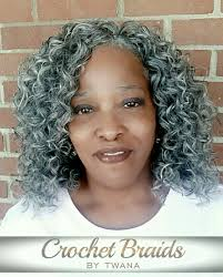 crochet braids with freetress gogo curl in color grey 2 packs cut