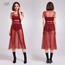 alisa pan womens tea length sheer tulle party dress mesh see