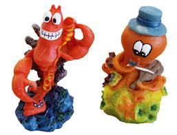 mini lobster and violin octopus aquarium ornament 2 pack