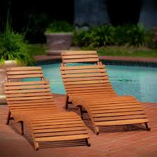Poolside Furniture Ideas Lawn Garden Nice Rustic Varnished Teak Wood Chaise Lounge Armless
