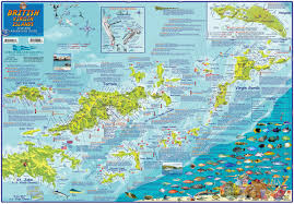 Map Caribbean Sea by British Virgin Islands Bvi Dive Map Laminated Poster By Franko