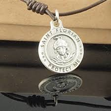 medallion necklace silver images Saint florian choker brown leather necklace silver medallion men 39 s jpeg