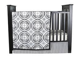 amazon com trend lab medallions 3 piece crib bedding set black