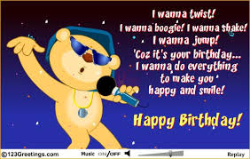 singing birthday text boogie shake singing birthday card thank you