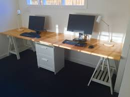 Long Computer Desks by Long Home Office Desk Made From Two Ikea Gerton Beech Table Tops