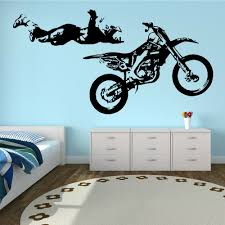 sports wall stickers promotion shop for promotional motocross stunt pvc wall sticker motobike boys sport kid room decal bedroom decorative home decoration