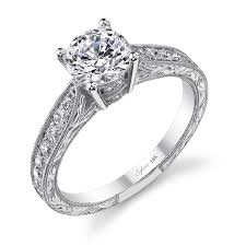 carved engagement rings vintage engraved diamond engagement ring