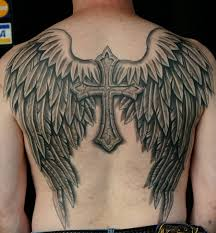 grey ink cross and wings tattoos on back