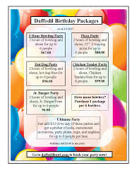 birthday party ideas packages daffodil bowl puyallup wa