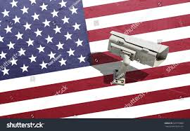 Dirty American Flag Security Cctv Camera Surveillance System On Stock Photo 527795008