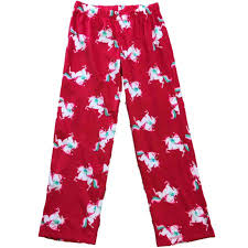 Womens Santa Riding Unicorn Christmas Fleece Sleep Pants Holiday