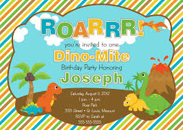 Invitations Cards For Birthday Parties Dinosaur Birthday Party Invitations Kawaiitheo Com