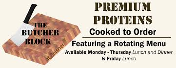dine on campus at shippensburg university of pennsylvania the butcher block is our premium protein upgrade option at reisner dining hall this program allows our guests to use flex cash or credit to purchase