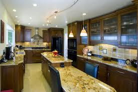 Kitchen With Two Islands Alluring Small Galley Kitchen With Island With Brown Color Wooden